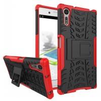 Противоударный двухкомпонентный силиконовый матовый непрозрачный чехол с поликарбонатными вставками экстрим защиты с встроенной ножкой-подставкой для Sony Xperia XZ/XZs Красный
