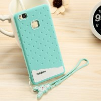 Силиконовый матовый непрозрачный дизайнерский фигурный чехол для Huawei P9 Lite  Зеленый