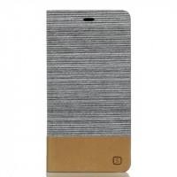 Чехол горизонтальная книжка подставка на силиконовой основе с тканевым покрытием и отсеком для карт для Huawei P9 Lite