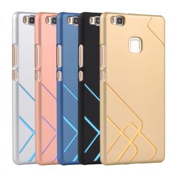 Пластиковый непрозрачный матовый чехол с текстурным покрытием Металл и сменными вкладышами для Huawei P9 Lite