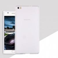 Силиконовый матовый полупрозрачный чехол для Philips X818  Белый