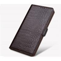 Кожаный чехол горизонтальная книжка подставка (премиум нат. кожа крокодила) с крепежной застежкой для Philips X818  Коричневый