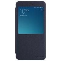 Чехол горизонтальная книжка на пластиковой нескользящей премиум основе с окном вызова для Xiaomi RedMi Note 4  Черный