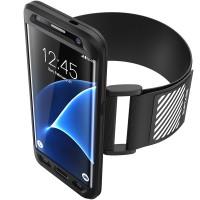 Силиконовый матовый непрозрачный противоударный спортивный чехол с наручным нескользящим светоотражающим ремнем для Samsung Galaxy S7 Edge