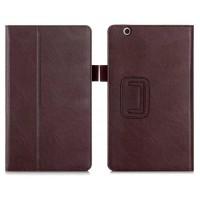 Чехол книжка подставка с рамочной защитой экрана, крепежом для стилуса, отсеком для карт и поддержкой кисти для Huawei MediaPad M3  Коричневый