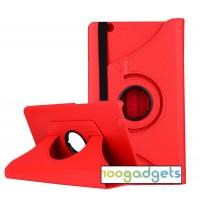 Роторный чехол книжка подставка на непрозрачной поликарбонатной основе для Huawei MediaPad M3  Красный