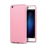 Силиконовый матовый непрозрачный чехол с текстурным покрытием Металлик для Meizu U10  Розовый