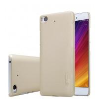 Пластиковый непрозрачный матовый нескользящий премиум чехол для Xiaomi Mi5S Бежевый