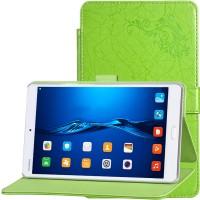 Чехол книжка подставка текстура Узоры на непрозрачной поликарбонатной основе с крепежом для стилуса для Huawei MediaPad M3 Зеленый