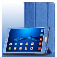 Сегментарный чехол книжка подставка текстура Золото с рамочной защитой экрана для Huawei MediaPad M3  Синий