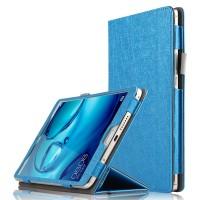 Сегментарный чехол книжка подставка текстура Линии с рамочной защитой экрана и крепежом для стилуса для Huawei MediaPad M3  Синий