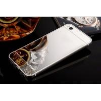 Двухкомпонентный чехол c металлическим бампером с поликарбонатной накладкой и зеркальным покрытием для Xiaomi Mi5S  Белый