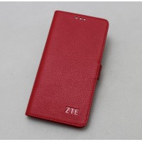 Кожаный чехол горизонтальная книжка подставка (премиум нат. кожа) с крепежной застежкой для ZTE Axon 7  Красный