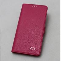 Кожаный чехол горизонтальная книжка подставка (премиум нат. кожа) с крепежной застежкой для ZTE Axon 7  Пурпурный