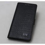 Кожаный чехол горизонтальная книжка подставка (премиум нат. кожа крокодила) с крепежной застежкой для ZTE Axon 7