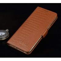 Кожаный чехол портмоне подставка (премиум нат. кожа крокодила) с крепежной застежкой для Asus ZenFone 3 Ultra  Бежевый
