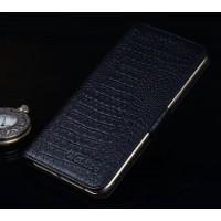 Кожаный чехол портмоне подставка (премиум нат. кожа крокодила) с крепежной застежкой для Asus ZenFone 3 Ultra  Черный