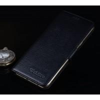 Кожаный чехол портмоне подставка (премиум нат. кожа) с крепежной застежкой для Asus ZenFone 3 Ultra  Черный