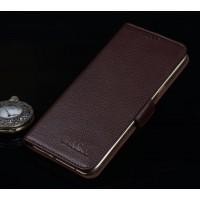 Кожаный чехол портмоне подставка (премиум нат. кожа) с крепежной застежкой для Asus ZenFone 3 Ultra  Коричневый