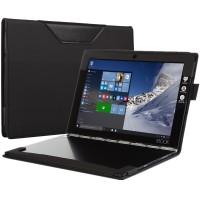 Кожаный чехол книжка с рамочной защитой экрана, крепежом для стилуса и тканевым покрытием для Lenovo Yoga Book Черный
