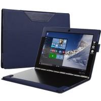Кожаный чехол книжка с рамочной защитой экрана, крепежом для стилуса и тканевым покрытием для Lenovo Yoga Book Синий