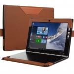 Кожаный чехол книжка с рамочной защитой экрана, крепежом для стилуса и тканевым покрытием для Lenovo Yoga Book