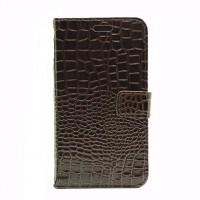 Чехол портмоне подставка текстура Крокодил на пластиковой основе на магнитной защелке для Samsung Galaxy J7 (2016)  Коричневый