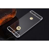Двухкомпонентный чехол c металлическим бампером с поликарбонатной накладкой и зеркальным покрытием для Huawei Nova  Черный