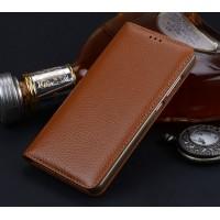 Кожаный чехол горизонтальная книжка подставка (премиум нат. кожа) для Huawei Nova  Бежевый