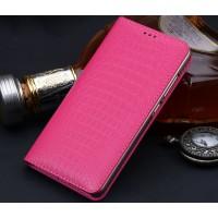 Кожаный чехол горизонтальная книжка подставка (премиум нат. кожа крокодила) для Huawei Nova Розовый