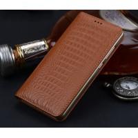 Кожаный чехол горизонтальная книжка подставка (премиум нат. кожа крокодила) для Huawei Nova Бежевый
