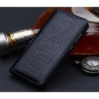 Кожаный чехол горизонтальная книжка подставка (премиум нат. кожа крокодила) для Huawei Nova Черный