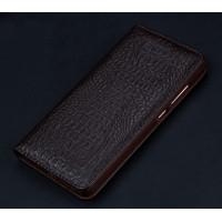 Кожаный чехол горизонтальная книжка подставка (премиум нат. кожа крокодила) для Huawei Nova Коричневый