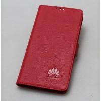 Кожаный чехол горизонтальная книжка подставка (премиум нат. кожа) с крепежной застежкой для Huawei Nova  Красный