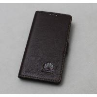 Кожаный чехол горизонтальная книжка подставка (премиум нат. кожа) с крепежной застежкой для Huawei Nova  Коричневый