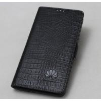Кожаный чехол горизонтальная книжка подставка (премиум нат. кожа крокодила) с крепежной застежкой для Huawei Nova  Черный