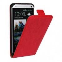 Чехол вертикальная книжка на пластиковой основе на магнитной защелке для HTC One (M7) Dual SIM  Черный