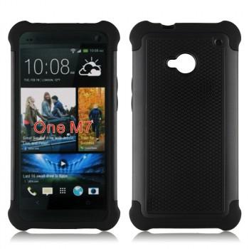 Противоударный двухкомпонентный силиконовый матовый непрозрачный чехол с поликарбонатными вставками экстрим защиты для HTC One (M7) Dual SIM