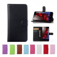 Чехол портмоне подставка на пластиковой основе на магнитной защелке для HTC One (M7) Dual SIM