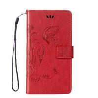 Чехол портмоне подставка текстура Узоры на силиконовой основе на магнитной защелке для HTC Desire 820 Красный