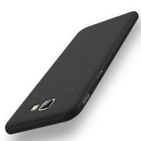 Пластиковый непрозрачный матовый чехол с повышенной шероховатостью для Samsung Galaxy J5 Prime  Черный