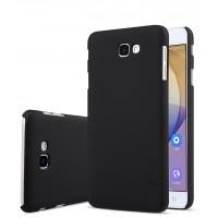Пластиковый непрозрачный матовый нескользящий премиум чехол для Samsung Galaxy J5 Prime  Черный