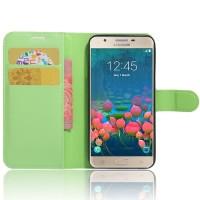 Чехол портмоне подставка на силиконовой основе на магнитной защелке для Samsung Galaxy J5 Prime  Зеленый