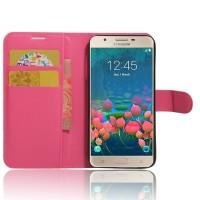 Чехол портмоне подставка на силиконовой основе на магнитной защелке для Samsung Galaxy J5 Prime  Пурпурный