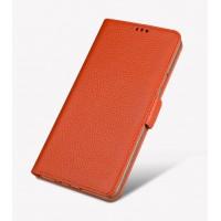 Кожаный чехол портмоне подставка (премиум нат. кожа) с крепежной застежкой для Samsung Galaxy J5 Prime Оранжевый