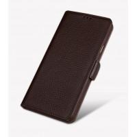 Кожаный чехол портмоне подставка (премиум нат. кожа) с крепежной застежкой для Samsung Galaxy J5 Prime Коричневый