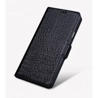 Кожаный чехол портмоне подставка (премиум нат. кожа крокодила) с крепежной застежкой для Samsung Galaxy J5 Prime  Черный