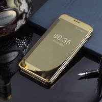 Пластиковый непрозрачный матовый чехол с полупрозрачной крышкой с зеркальным покрытием для Samsung Galaxy J5 Prime Бежевый