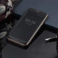 Пластиковый непрозрачный матовый чехол с полупрозрачной крышкой с зеркальным покрытием для Samsung Galaxy J5 Prime Черный