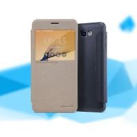 Чехол горизонтальная книжка на пластиковой нескользящей премиум основе с окном вызова для Samsung Galaxy J5 Prime Бежевый